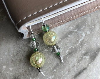 BEADED BOOKMARK for Travelers Notebooks | Planners | Journals | Books Light GREEN with crystal and silver accents