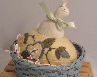 Folk Art Woolen Appliqued Easter Egg in Basket with Bunny on Top