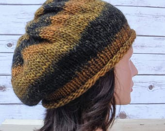 Knit Slouch Hat Beret Wool Ready To Ship Free Shipping