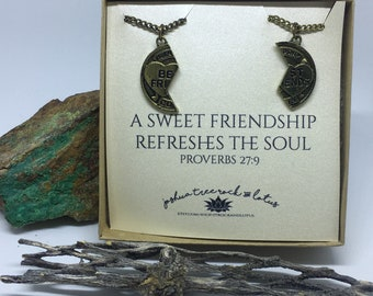 Best friend two part necklaces / mizpah coin / bff necklace / best friends forever necklaces / bronze friendship coin jewelry / broken coin