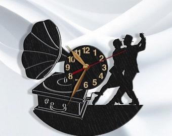Dancer Clock Gift BIG Wood Non-ticking, Tango Dance LARGE 12-16-18inch, Wall Art Decor Wood, Dancing School.#12-PERS-p05-D1