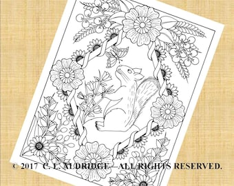 The Squirrel and the Butterfly, Fantasy Flower Garden #14, Flowers, Squirrel, Butterfly, Berries - Coloring Page - PDF Instant Download