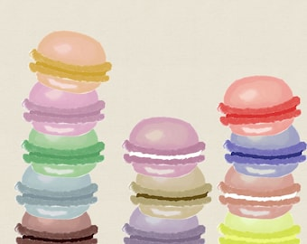 Watercolor macaron clipart for scrapbooking card making personal and commercial use instant download