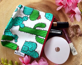 Cactus Zipper Pouch, Pencil Pouch, travel Pouch, Cosmetic pouch, Green, organize,small bag, College,Kids,School Supplies,Teens,Women handbag