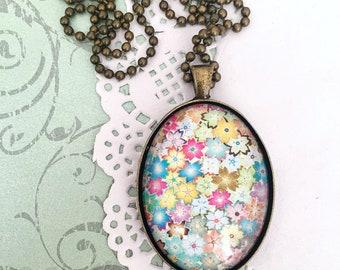Colourful Floral Glass Pendant Necklace