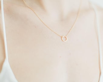 Gold Karma Necklace, Karma Necklace, Circle Necklace, Geometric Necklace