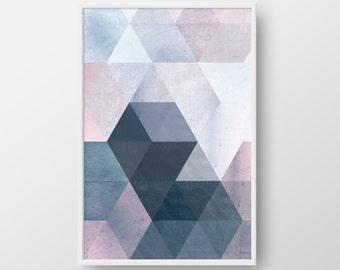 Printable Geometric Poster, Scandinavian Print, Nordic Poster, Modern Geometric Poster, Triangle Print, Blue Print, Modern Wall Art