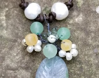 """Woodland Inspired """"Rambling Rose"""" Necklace Rustic Pearl Leather"""