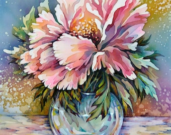 Silk Painting Picture Pink Peonies in a Glass Vase. Original painting on silk. Batik Art picture . Ready to Ship.