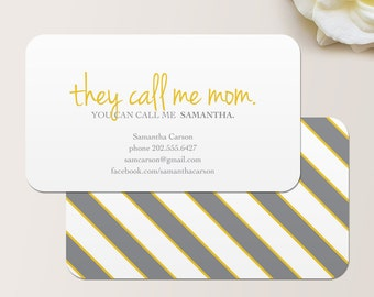 They Call Me Mom Business Card / Calling Card / Mommy Card / Contact Card - Mom Business Cards, Family Calling Cards, Family Business Cards