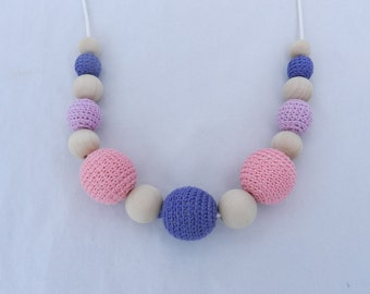 Crochet Teething Necklace Nursing Necklace Pink Purple