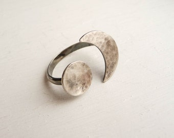 Sterling Silver Sun Moon Ring - Oxidized silver Ring - Handmade silver ring - SIze 7