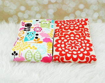 2 Baby Burp Cloths (Pink Owls/Forest & Lotus Flower) ||| burp rag, baby burp cloths, burping rag, baby shower gift, baby gift, new baby gift