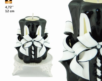 Gift for him, Birthday gift,  gift for Dad, gift for husband, gift for men, candles, candle, carved candle, Small Black&White candle