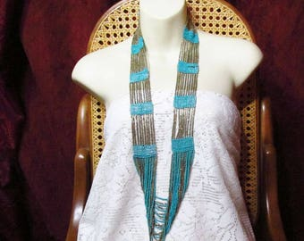 Vintage multi strand brass and turquoise beads necklace