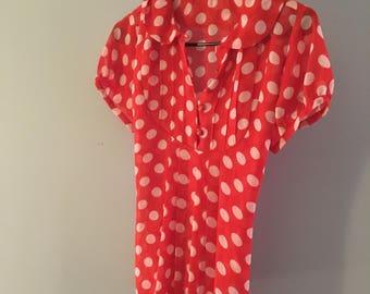 Rockabilly polka dot blouse- medium