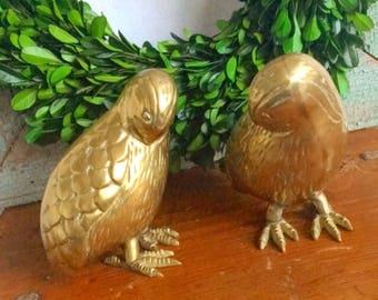 Birds of a Feather... Pair of Vintage Brass Quail Birds Chicks Home Decor Mid Century Modern
