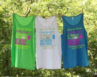 Time to Drink Champagne and Dance on the Table Beach Tank Sets - Group Bachelorette Personalized with location and date