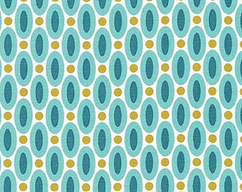 SALE**Aqua Ovals Fabric from Joel Dewberry's True Colors Collection by Free Spirit