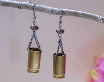 45 Caliber Brass Bullet Earrings