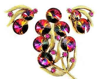 Fuchsia and Purple Rivoli Matching Brooch and Earring Floral Set