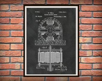 Patent 1888 Tesla Electro Magnetic Motor - Art Print Poster Wall Art - School Wall Art - Science Lab - Nikola Tesla Invention