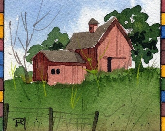 ACEO Art Card Print-Red Barn