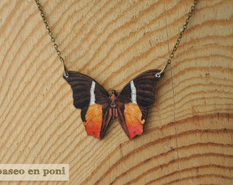 Orange Butterfly Necklace