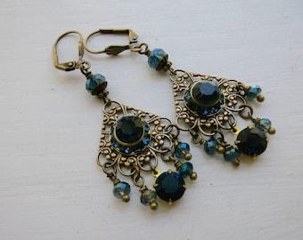 Sapphire Boho Rhinestone Dangle Earrings