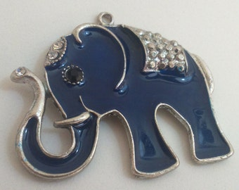 Elephant pendant blue and silver 55 mm charm animal findings supplies neckless