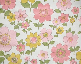 Retro Wallpaper by the Yard 70s Vintage Wallpaper - 1970s Pink and Yellow Flowers on White
