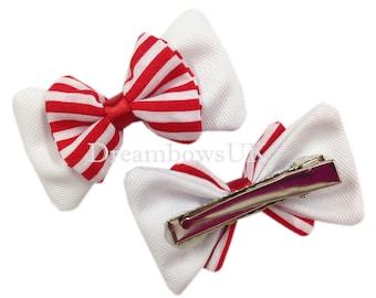 Red and white striped hair bows, alligator clips, girls hair slides, Crocodile hair clips, handmade hair bows UK, Summer hair fashion, bows