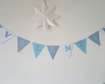 "Garland ""Baptism"" + name cotton coating-assorted - color 210 gr paper flags stars"