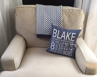 Birth Stat Pillow cover Personalized Grey coral modern hipster accessory home decor nursery newborn baby gift zipper canvas custom order