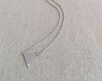 """Sterling Silver Geometric Triangle Solid Necklace adjustable lengths in 16"""" to 18"""" Modern Chic Minimalist Jewelry"""