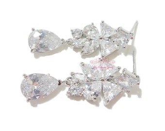 Bridal Dangle Earrings, Vintage Swarovski Earrings, Wedding Earrings, Stub Earrings, Bridesmaid Teardrop Earrings, Bridal Earrings ER0015