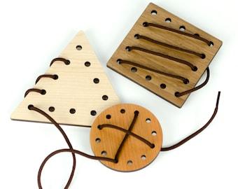 Educational Toys - Lacing Shapes - Travel Toy - Montessori - Waldorf Toys - Stocking Stuffer