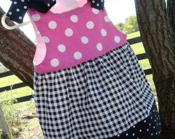 SALE - PDF e-Pattern - Dress - Jumper with Ribbon Ties Sewing Pattern - 7 sizes - 6 months to 6 years
