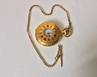 Vintage Arnex 17 Jewels Incabloc Ornate Pocket Watch with 9 carat Rolled Gold 30cm chain