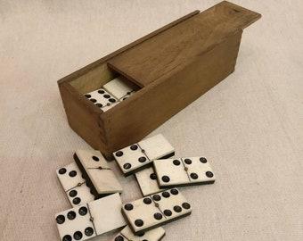 Vintage Dominoes set, Bone, Ebony and Brass in wooden box