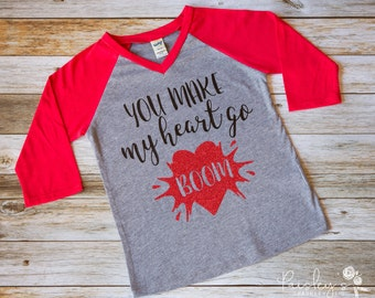 Valentines Tshirt - You Make My Heart Go Boom  - Valentines Day Shirt - Valentines Tee - Valentine's Day Outfit, - Valentines Clothing - Tee