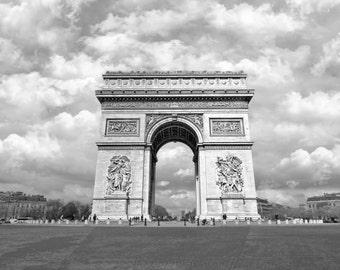 Arc de Triomphe Black & White, Paris, France, Instant Download,  Digital Printable Fine Art Photography, wall decor