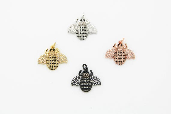 CZ Micro Pave 20x23mm Bee Pendant