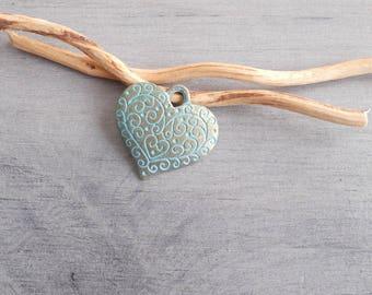 Bronze patina heart pendant
