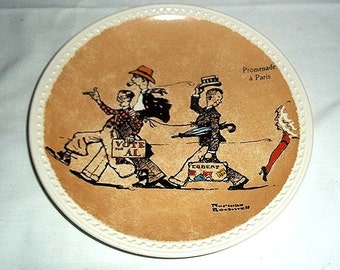 Newell Pottery Co. Norman Rockwell Collector Plate / Promenade a Paris  / Second Issue of Rockwell on Tour Set