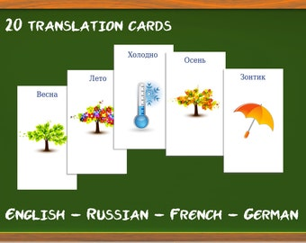 Weather and seasons in Russian, French, English, German: Translation cards, Word game, children's game, learn a language, summer, winter