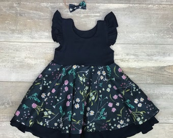 4-6 weeks, dress with Ruffles, double Cotton/spandex skirt Navy and marine amid spring flowers
