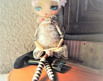 Handcrafted pink 32 cm doll