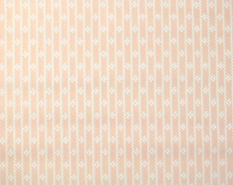 1930s Vintage Wallpaper by the Yard - Pink and White Geometric