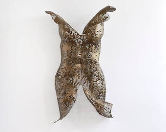 Metal wall art sculpture, abstract torso, sexy nude metal torso, Interior design, Wall decor